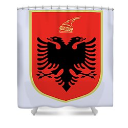 Shower Curtain featuring the drawing Albania Coat Of Arms by Movie Poster Prints