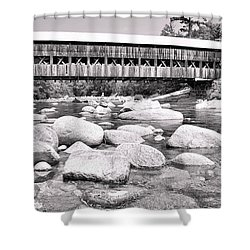 Albany Covered Bridge In Black And White Shower Curtain