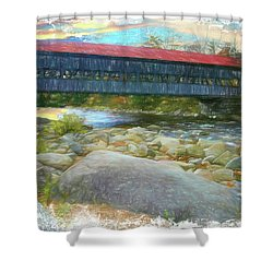Albany Covered Bridge Nh. Shower Curtain