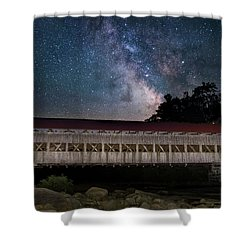 Albany Covered Bridge Under The Milky Way Shower Curtain