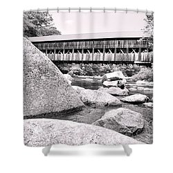 Albany On The Rocks In Black And White  Shower Curtain