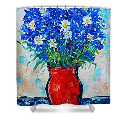 Albastrele Blue Flowers And Daisies Shower Curtain by Ana Maria Edulescu
