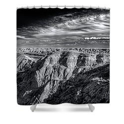 Shower Curtain featuring the photograph Alberta Badlands by Wayne Sherriff