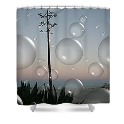 Shower Curtain featuring the digital art Alca Bubbles by Holly Ethan