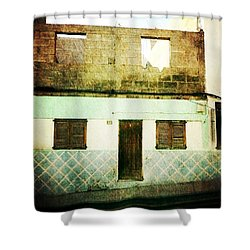 Shower Curtain featuring the photograph Alcala Blue House No1 by Anne Kotan