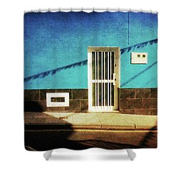 Shower Curtain featuring the photograph Alcala Blue Wall White Door by Anne Kotan