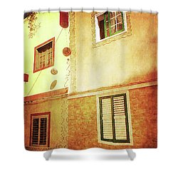 Shower Curtain featuring the photograph Alcala, Fiesta House by Anne Kotan