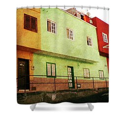 Shower Curtain featuring the photograph Alcala Orange Green Red Houses by Anne Kotan