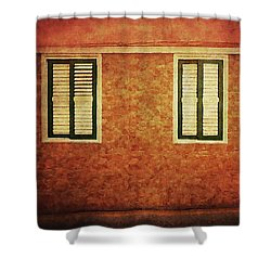 Shower Curtain featuring the photograph Alcala, Orange House by Anne Kotan