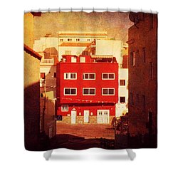 Shower Curtain featuring the photograph Alcala Red House No1 by Anne Kotan