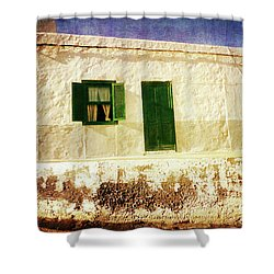 Shower Curtain featuring the photograph Alcala White And Green House by Anne Kotan