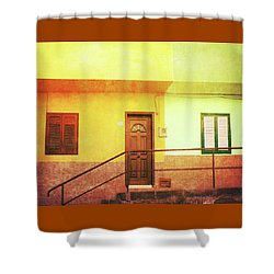 Shower Curtain featuring the photograph Alcala Yellow Green Houses by Anne Kotan