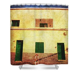 Shower Curtain featuring the photograph Alcala Yellow House With Green Doors by Anne Kotan