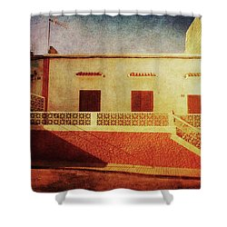Shower Curtain featuring the photograph Alcala Yellow Red House by Anne Kotan