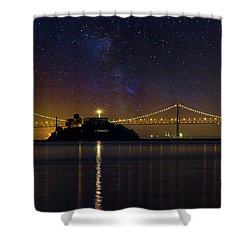 Alcatraz Island Under The Starry Night Sky Shower Curtain by David Gn