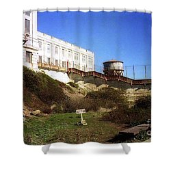 Alcatraz Water Tank Prison  Shower Curtain by Ted Pollard