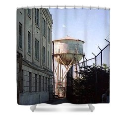 Alcatraz Water Tank  Shower Curtain by Ted Pollard