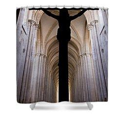 Alcobaca Monastery Church Crucifix Shower Curtain by Jose Elias - Sofia Pereira
