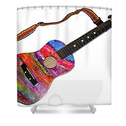 Alcohol Ink Guitar Shower Curtain by Alene Sirott-Cope