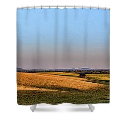 Shower Curtain featuring the photograph Alentejo Fields by Marion McCristall
