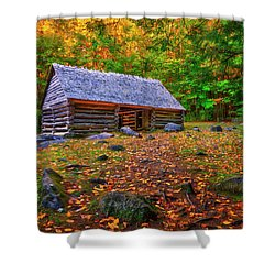 Alex Cole Cabin At Jim Bales Place, Roaring Fork Motor Trail In The Smoky Mountains Tennessee Shower Curtain