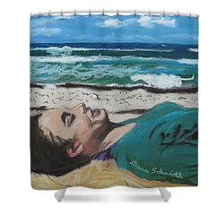 Granddaughter Alex At A Gulf Coast Beach, Florida Shower Curtain