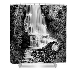 Shower Curtain featuring the photograph Alexander Falls - Bw 2 by Stephen Stookey