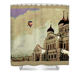 Shower Curtain featuring the digital art Alexander Nevsky Cathedral In Tallin, Estonia, My Memory. by Jeff Burgess