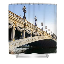 Alexandre IIi Bridge In Paris France Early Morning Shower Curtain by Perry Van Munster