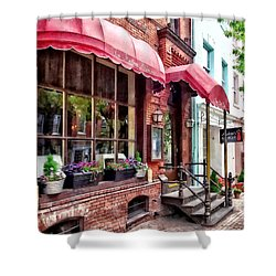 Alexandria Va - Red Awnings On King Street Shower Curtain