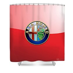 Alfa Romeo - 3d Badge On Red Shower Curtain by Serge Averbukh