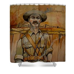 Shower Curtain featuring the painting Alfred Shout Vc by Ray Agius