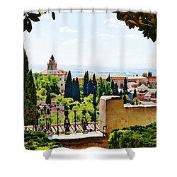 Alhambra Gardens, Digital Paint Shower Curtain