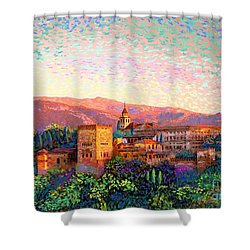 Shower Curtain featuring the painting Alhambra, Grenada, Spain by Jane Small