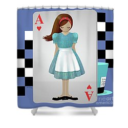 Alice 3d Flying Cards Shower Curtain by Audra Lemke