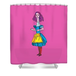 Alice In Wonderland - Ask Alice - Psychedelic Alice Shower Curtain by Paul Telling
