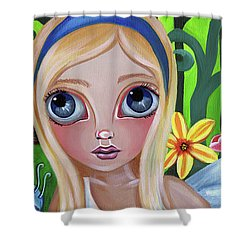 Alice Meets The Caterpillar Shower Curtain by Jaz Higgins