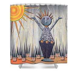 Alice The Goddess Of August Shower Curtain by Joan Ladendorf