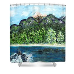 Alice Tubing On Hungry Horse  Reservoir Shower Curtain