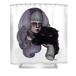Alice With Black Cat Shower Curtain