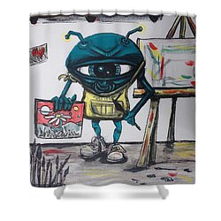 Alien Artist Shower Curtain