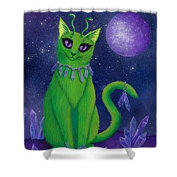 Shower Curtain featuring the painting Alien Cat by Carrie Hawks