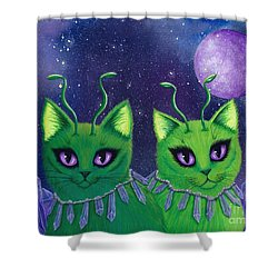 Shower Curtain featuring the painting Alien Cats by Carrie Hawks