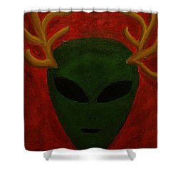 Alien Deer Shower Curtain