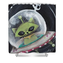 Alien Green Space Cat Shower Curtain by Abril Andrade Griffith