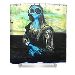 alien Mona Lisa Shower Curtain