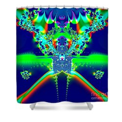 Alien Poodle Fractal 96 Shower Curtain by Rose Santuci-Sofranko
