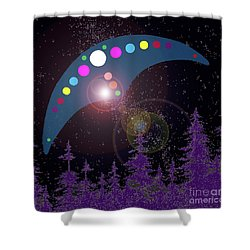 Shower Curtain featuring the painting Alien Skies by James Williamson