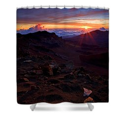 Alien Sunrise Shower Curtain by Mike  Dawson