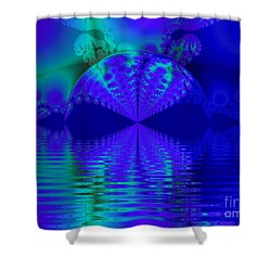 Alien Sunset Over Fantasy Lake Shower Curtain